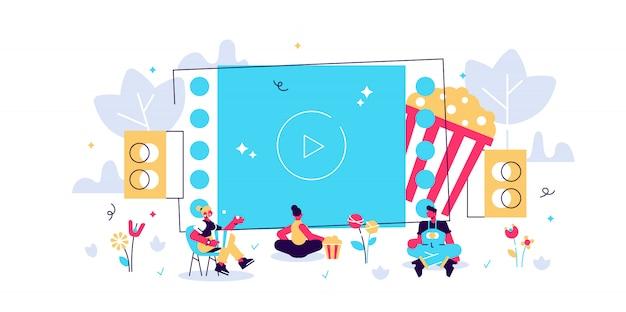 Noite de cinema com os amigos. assistindo filme na tela grande com sistema de som. cinema ao ar livre, cinema ao ar livre, conceito de equipamento de teatro de quintal. ilustração isolada violeta vibrante brilhante