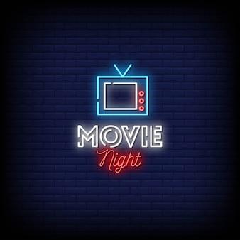 Noite de cinema sinais de néon estilo texto
