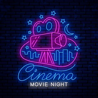 Noite de cinema, sinal de néon brilhante para o cinema.