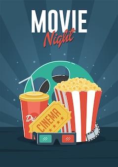 Noite de filme. pode ser usado para folheto, cartaz, banner, anúncio e fundo do site.