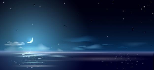 Noite de fundo e mês acima do mar e