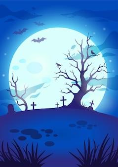 Noite de halloween assustador fundo com grande lua brilhante voando morcegos assustadores túmulos de árvores e cruzes