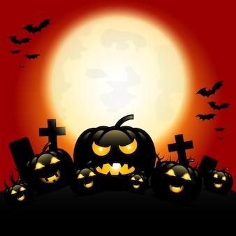 Noite de halloween com abóboras e lua azul
