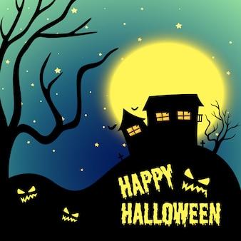 Noite de halloween com casa assombrada