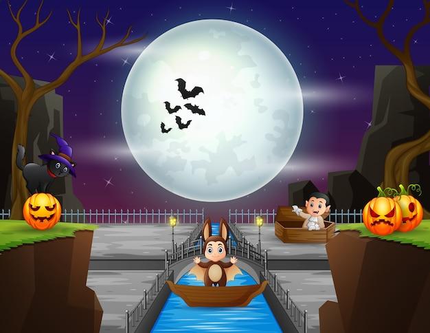 Noite de halloween com crianças em fantasias diferentes