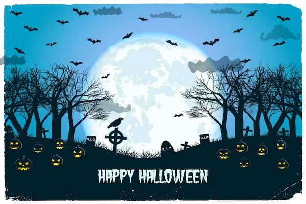 Noite de halloween com lanternas de jack e cemitério voando morcegos na lua enorme
