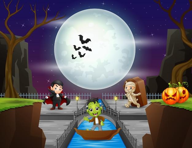 Noite de halloween com pessoas fantasiadas de halloween