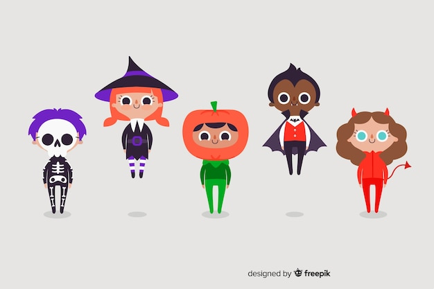 Noite de halloween com trajes de crianças