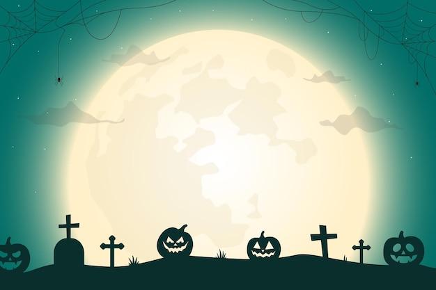 Noite de halloween paisagem cemitério à luz da lua e ilustração vetorial de abóboras assustadoras