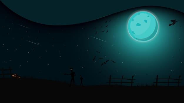 Noite de halloween, paisagem noturna com lua cheia, bruxas e zumbis