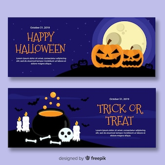 Noite de halloween plana com banners de lua