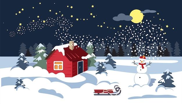 Noite de inverno. a lua está no céu. uma casa na neve, um boneco de neve e um trenó.