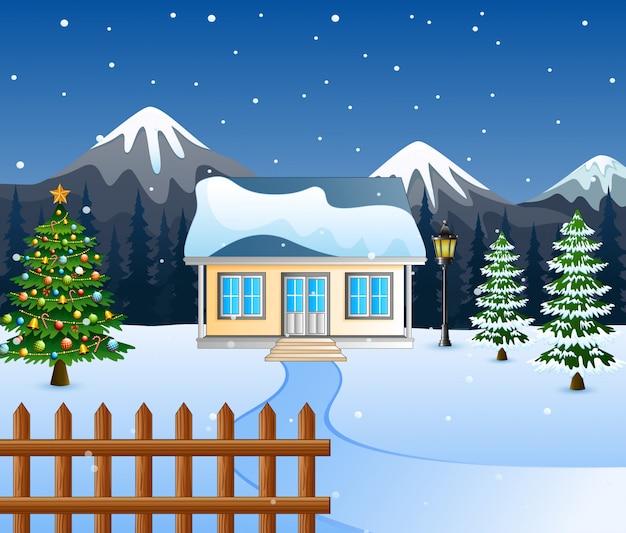 Noite de inverno com árvores de natal