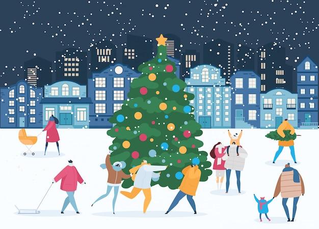 Noite de inverno e pessoas em torno da árvore de natal no natal, ilustração de véspera de ano novo
