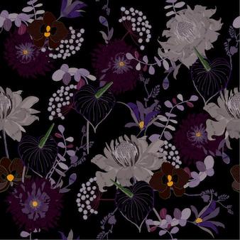 Noite de jardim blooming floral pattern vetor sem emenda