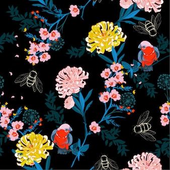 Noite de jardim japonês escuro florescendo flores