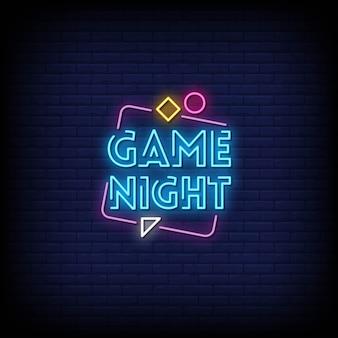 Noite de jogo com sinais de néon estilo texto
