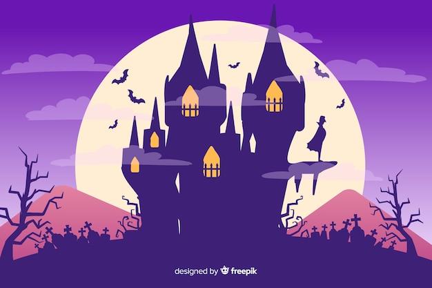 Noite de lua cheia e casa fundo de halloween