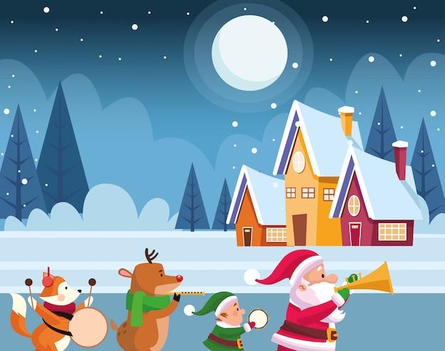 Noite de neve com casas e papai noel e fofos animais de natal tocando instrumentos musicais