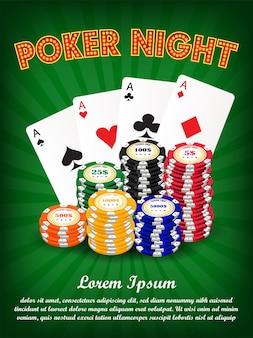 Noite de pôquer de cassino com cartão de terno e fichas