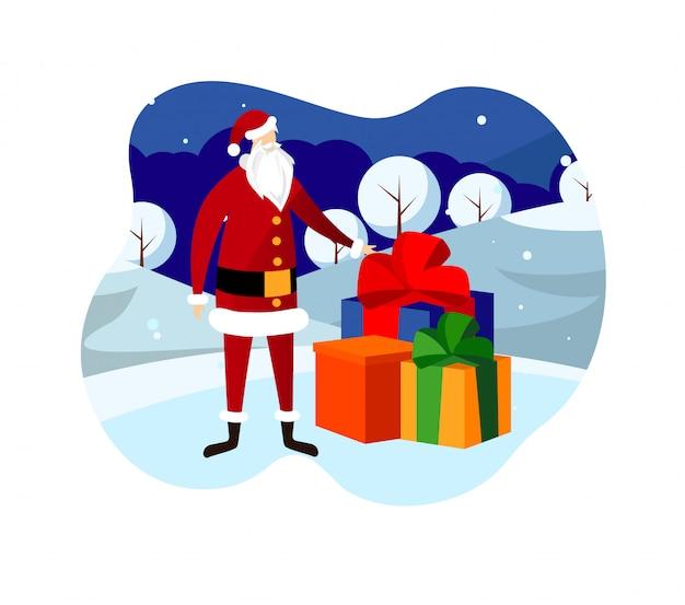 Noite de véspera de natal. papai noel trazendo presentes