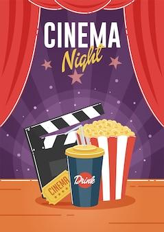 Noite do cinema. pode ser usado para folheto, cartaz, banner, anúncio e fundo do site.