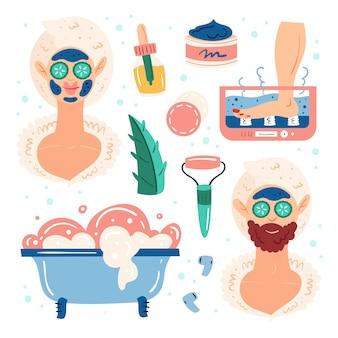 Noite em casa spa. mulher e homem processo de beleza. feliz bom humor, sorria. cuidados com a pele e cabelos. recreação, auto-cuidado, relaxar, descansar. banheiro, chuveiro. conjunto de ilustração plana mão desenhada