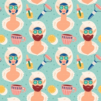 Noite em casa spa. mulher e homem processo de beleza. feliz bom humor, sorria. cuidados com a pele e cabelos. recreação, autocuidado, relaxar, descansar. banheiro, chuveiro. padrão sem emenda desenhada de mão plana