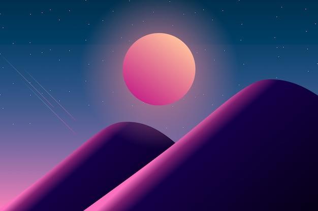 Noite estrelada com lua cheia e ilustração de paisagem de montanha