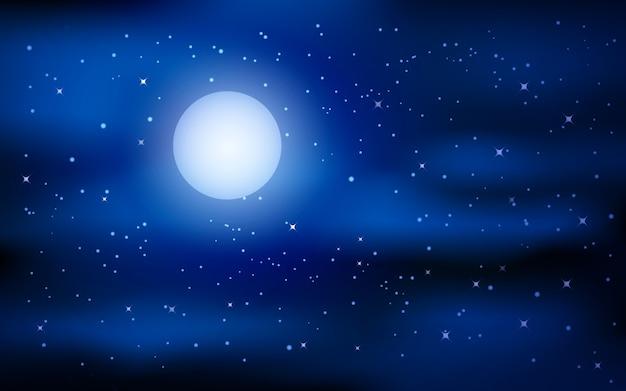 Noite estrelada com lua cheia