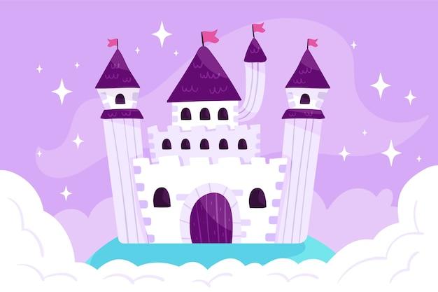 Noite estrelada de castelo mágico de conto de fadas