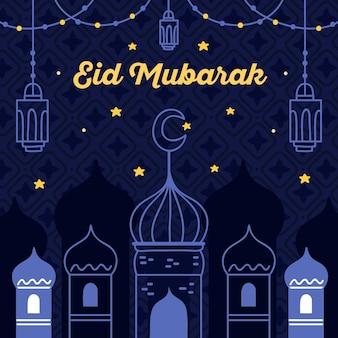 Noite estrelada mão desenhada eid mubarak