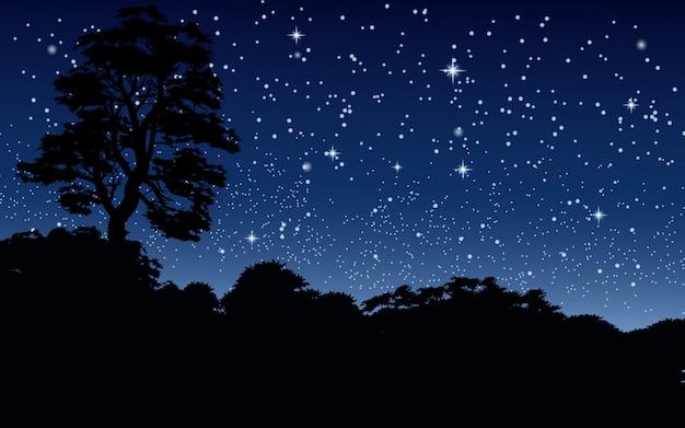 Noite estrelada sobre floresta