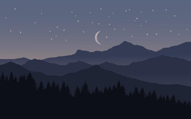 Noite estrelada sobre montanha com lua e floresta