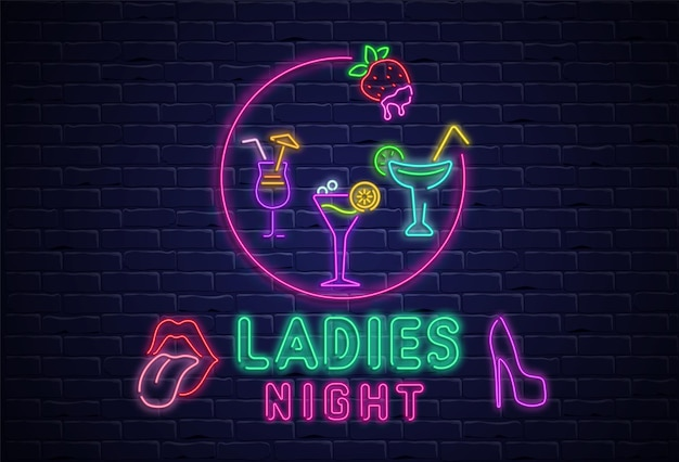 Noite feminina tabuleta texturizada com néon colorido