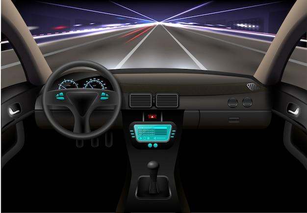 Noite interior do carro
