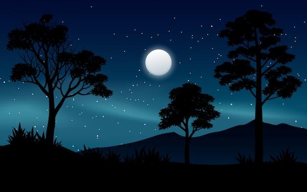 Noite linda paisagem do céu na floresta com lua e estrelas