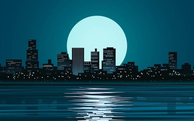 Noite na cidade com lua cheia e reflexo