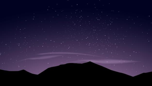 Noite na montanha com céu estrelado