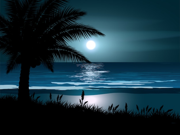 Noite na praia com lua cheia e palmeira