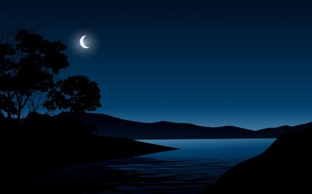 Noite no lago com árvores e luar