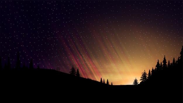 Noite paisagem com pôr do sol laranja, céu estrelado, nuvens, campos com árvores coníferas e velha árvore sozinha no terreno da frente