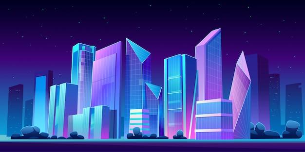 Noite panorâmica do edifício urbano horizonte