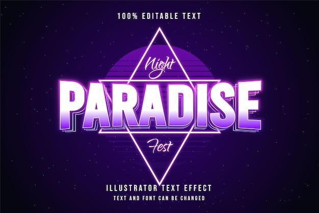 Noite paradisíaca fest, efeito de texto editável em 3d gradação rosa estilo de texto neon roxo