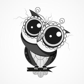 Noite pássaro coruja com penas em um galho de árvore design para cartão comemorativo, têxteis decorativos