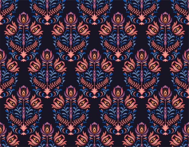 Noite roxo estilo folk floral padrão sem emenda