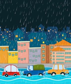 Noite tempestuosa e cidade da enchente