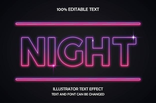 Noite, texto editável efeito moderno estilo sombra de néon