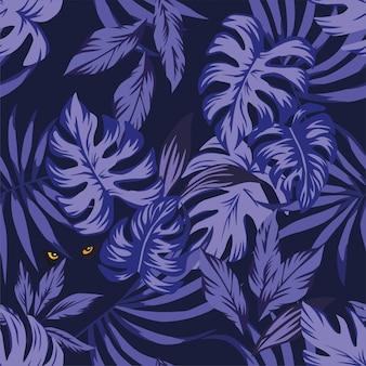 Noite, tropicais, folhas, padrão, com, olhos, pantera