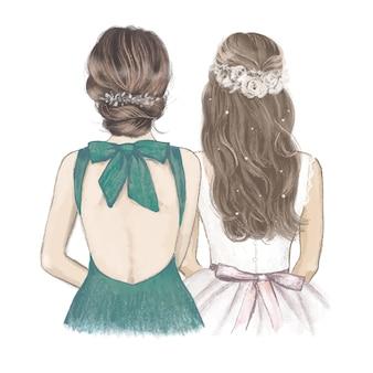 Noiva com dama de honra em vestido verde esmeralda, convite de casamento desenhado à mão.